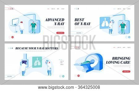 Tomography Mri Scanning Procedure Landing Page Template Set. Doctors Characters Look At Results Of P