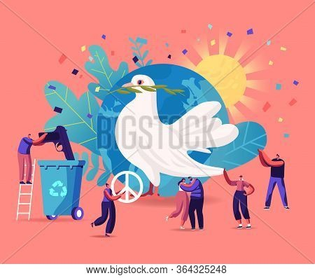 International Day Of Peace Concept. Tiny Male And Female Characters Hugging, Throw Out Gun To Litter