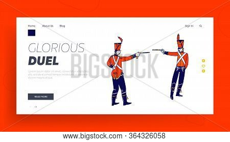 Hussar Characters Dueling With Guns Landing Page Template. Russian Ancient Solders, Cavalrymen Aimin