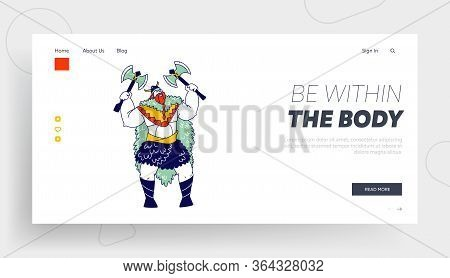 Personage Of Nordic Legends Landing Page Template.viking, Scandinavian Warrior Male Character With T