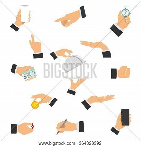 A Set Of Human Hands Showing Different Gestures Holding Different Objects. Gestures Of Hands. Vector