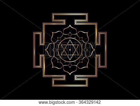 Hinduism Bhuvaneshwari Yantra Prakriti Sacred Diagram, 6 Pointed Star. Gold Yantra Dasa Mahavidya Sa