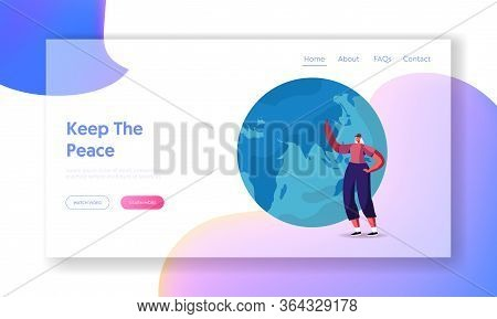 Peace And Ecology Protection Landing Page Template. Female Character Pointing On Earth Globe. Woman
