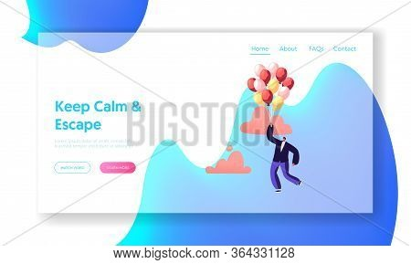 Escape, Inspiration, Progress, Creative Solution Landing Page Template. Businessman Character Flying
