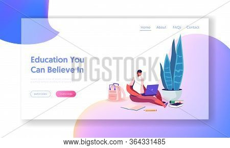 Distant School Landing Page Template. Little Schoolboy Sitting On Floor With Laptop Watching Online
