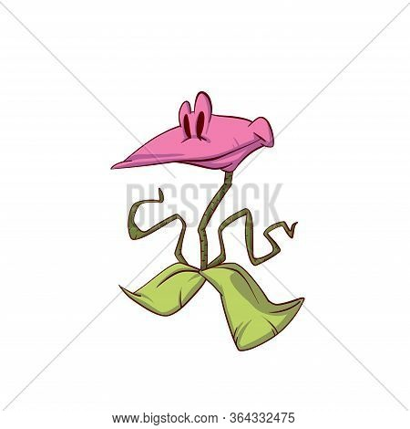 Colorful Vector Illustration Of A Cartoon Funny Carnivourus Plant