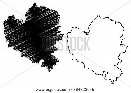 Wolfsburg City (federal Republic Of Germany, Lower Saxony) Map Vector Illustration, Scribble Sketch