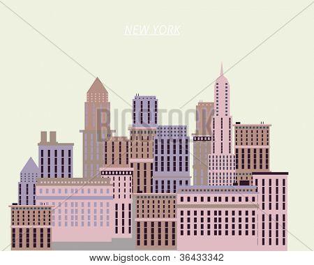New York houses illustration