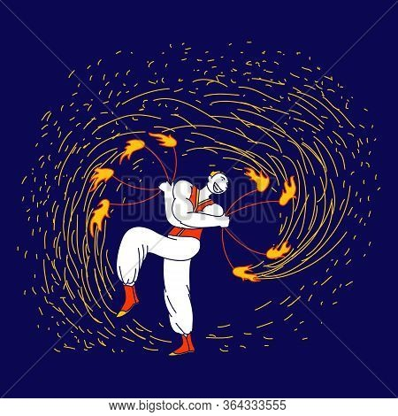 Flame Entertainment, Street Fair, Circus Amusement. Young Man Fakir Character Dancing And Juggling W