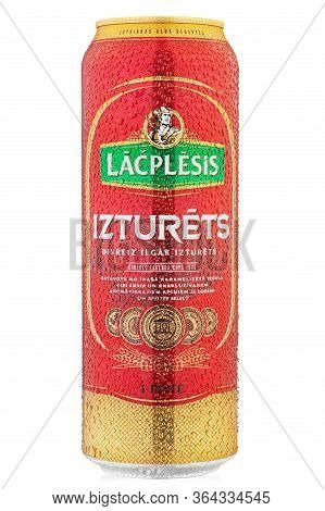 Ukraine, Kyiv - March 16, 2020: Aluminium Cold Can Of Latvian Lacplesis Izturets  Beer From Manufact