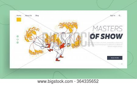 Talent Show Or Circus Performance Landing Page Template. Man And Woman Characters Performing Dangero