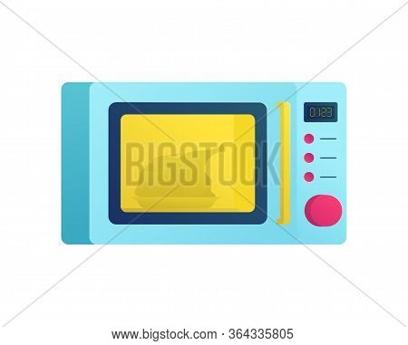 Microwave Oven With Chicken Inside Icon. Modern Kitchenware And Household Equipment Symbol. Electric