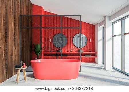 Interior Of Luxury Attic Bathroom With White, Red And Wooden Walls, Double Sink With Two Round Mirro