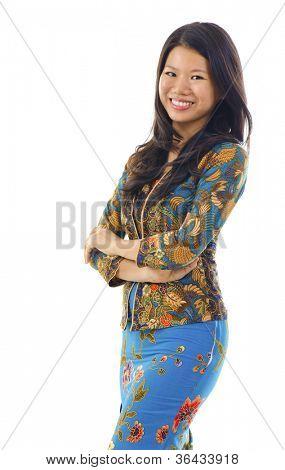 Mulher asiática em Kebaya, kebaya geralmente usado por mulheres na Indonésia, Malásia, Brunei, Birmânia, Cingapura