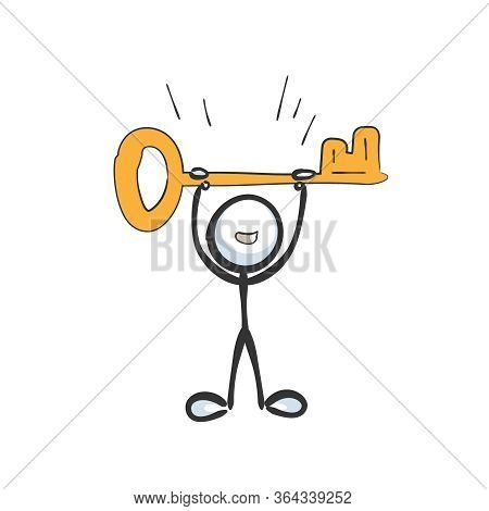Find A Way To Success. Holding A Key. Happy Man. Hand Drawn. Stickman Cartoon. Doodle Sketch, Vector