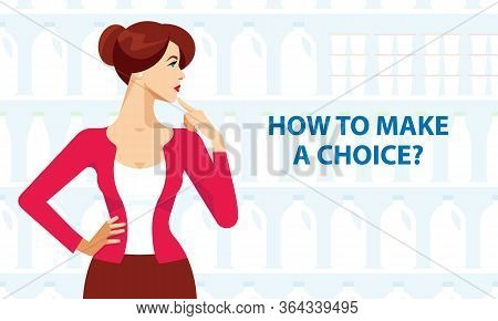 Woman Is Thinking. Woman Decides. A Housewife In Red With Dark Hair. The Woman Makes A Decision. Mak