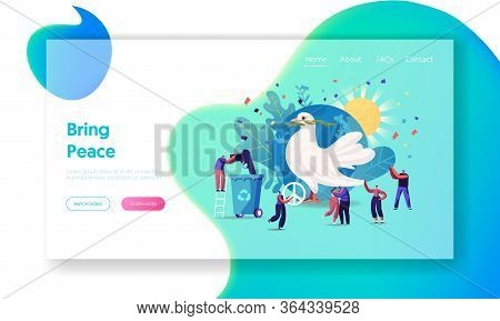 International Day Of Peace Landing Page Template. Tiny Characters Hugging, Throw Out Gun To Litter B