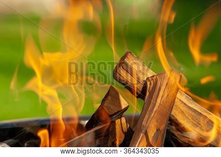 Barbecue Grill. Fire Flame On Green Grass Background.  Barbecue Grill With Fire On Open Air. Fire Fl