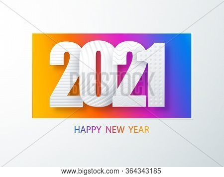 Happy New Year 2021 Cover Paper Art Cover Design.. Happy New Year 2021 Text Design Vector. Creative