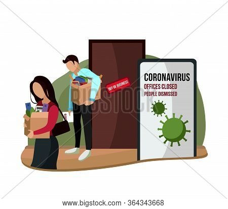 Fired And Disappointed People From Job. Dismissal, Severance, Termination In Case Of Coronavirus Or