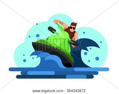 Water Sport. A Man Drive On A Hydrocycle Jetski Vector Flat Illustration. Waves And Sun