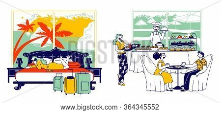 Hospitality And Room Service Concept. Male Female Characters Have Breakfast Sit At Table, Girl Call
