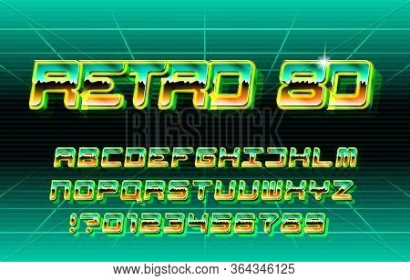 Retro 80 Alphabet Font. Vibrant Color Letters And Numbers. Stock Vector Typescript In 80s Style For