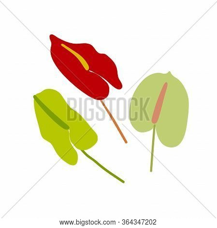 Flat Set Flowers. Green, Red Flowers Isolated On White Background. Hand-drawn Minimalistic Plants. S