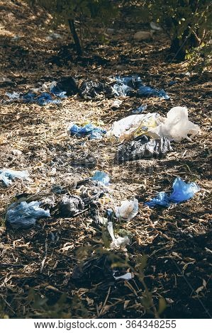 Environmental Pollution By Plastic. Ecological Catastrophy. Fight And Ban On Plastic.