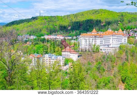 Karlovy Vary Carlsbad Historical City Centre Top Aerial View With Hotels Buildings, Slavkov Forest H