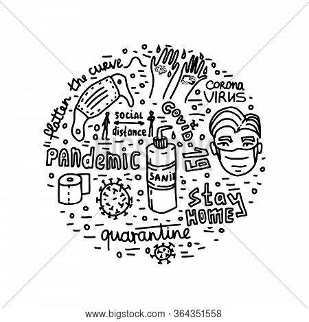Pandemic Epidemic Coronavirus Quarantine Vector Lettering Doodle