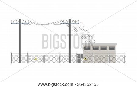 Power Lines And Transformer Substation Building Fenced. Flat Vector Illustration Isolated On White B