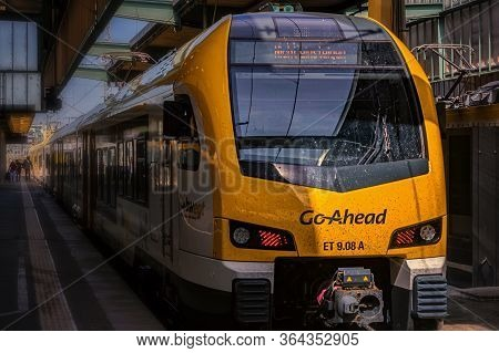 Stuttgart,germany - April 21,2020:main Station This Is A Modern Local Train Line Of Go Ahead,which R