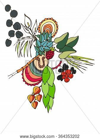 Tropical Vector Stock Illustration. Different Multicolor Plants And Fruits Isolated On A White Backg