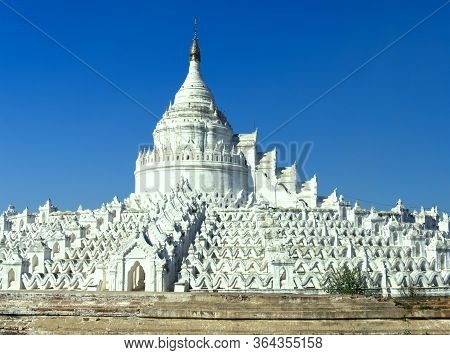 The  White Hsinbyume Pagoda Or Mya Thein Dan Pagoda In Mingun City, Myanmar, With Blue Sky.