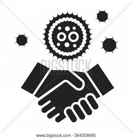 Covid-19 Transmitted Through Handshake Black Glyph Icon. Healthcare. Pictogram For Web Page, Mobile