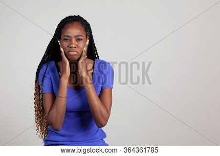 Black Woman With Tmj Jaw And Tooth Pain. Female Experiencing Pain Series.