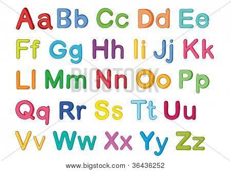illustration of english alphabets on a white