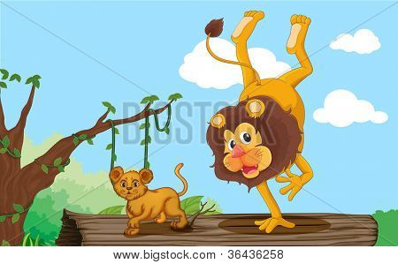 illustration of a lion and cub in jungle
