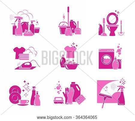 Cleaning And Disinfection. Set Of Color Icons For Infographics. Housekeeping And Cleaning Service. C