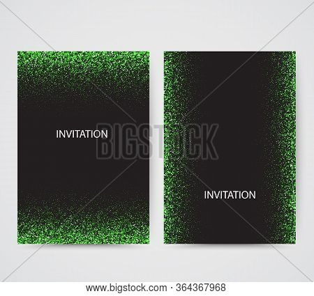 New Year Card Backgrounds Set. Green Glitter Paper Confetti. Glistening Green Disco Lights. Christma