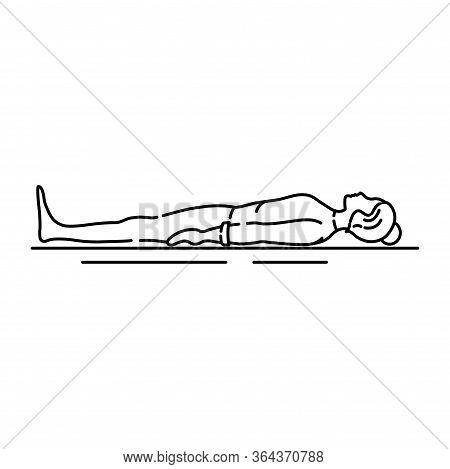 Corpse Pose Savasana Black Line Icon. Asana In Hatha Yoga. Pictogram For Web Page, Mobile App, Promo