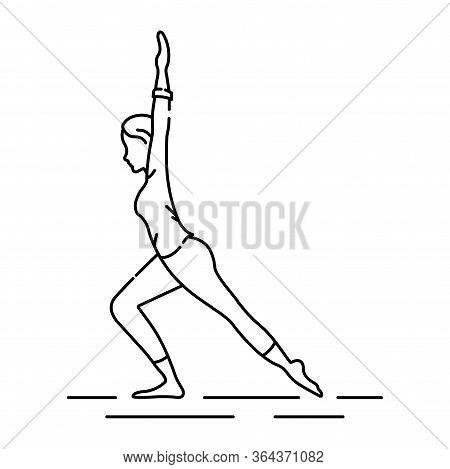 Virabhadrasana Hero Pose Black Line Icon. Pictogram For Web Page, Mobile App, Promo. Ui Ux Gui Desig