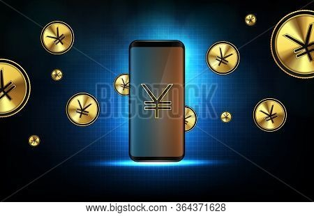 Abstract Background Of Futuristic Technology China Yuan Digital Currency On Smart Mobile Phone
