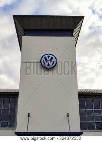 Filderstadt, Germany - October 03, 2019: Volkswagen Brand /emblem At Building Facade Of Car Dealer /