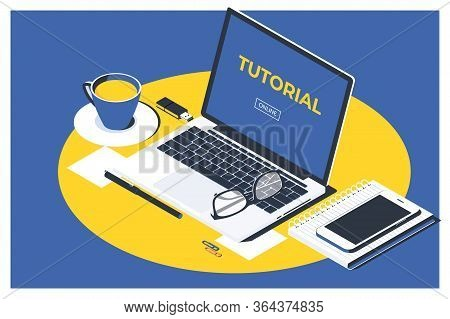 Isometric Illustrations Design Online Video Tutorial Concept. Education And Online Courses, Web Tuto