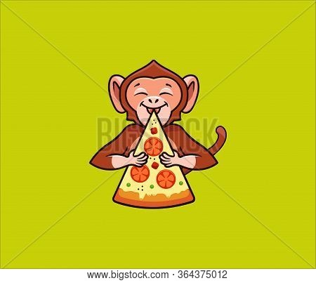 The Funny Monkey Eats Pizza, Logo. Satisfied Macaque Character, Food Logotype