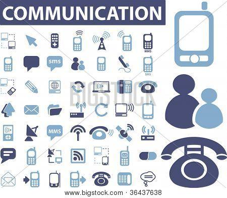 communication icons set, vector