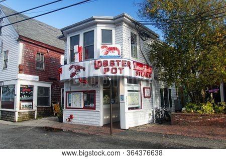 Provincetown, Massachusetts.  October 29, 2018.  The Landmark Lobster Pot Restaurant In Provincetown