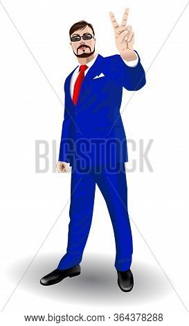 Man In A Business Suit Demonstrates Victory Gesture - Vector Illustration